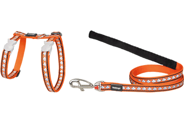 Red Dingo Cat Harness & Lead Reflective Fish Orange CH-RF-OR