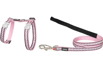 Red Dingo Cat Harness & Lead Reflective Fish Pink CH-RF-PK