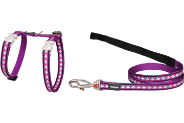 Red Dingo Cat Harness & Lead Reflective Fish Purple CH-RF-PU