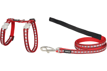 Red Dingo Cat Harness & Lead Reflective Fish Rosso CH-RF-RE