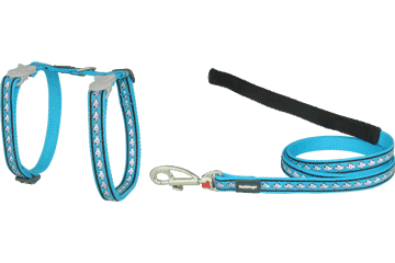 Red Dingo Cat Harness & Lead Reflective Fish Turquoise CH-RF-TQ