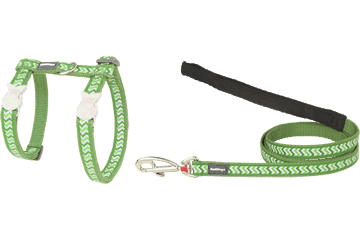 Red Dingo Cat Harness & Lead Reflective Ziggy Green CH-RZ-GR