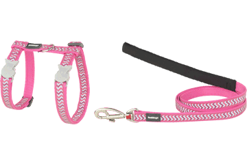 Red Dingo Cat Harness & Lead Reflective Ziggy Hot Pink CH-RZ-HP