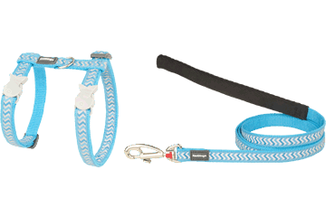 Red Dingo Cat Harness & Lead Reflective Ziggy Turquoise CH-RZ-TQ