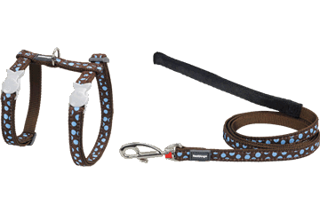 Red Dingo Cat Harness & Lead Blue Spots Brown CH-S2-BR