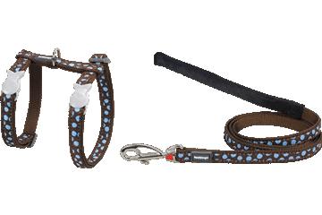 Red Dingo Kedi Göğüs Tasması ve Uzatma Kombo Mavi Benekler Kahverengi CH-S2-BR