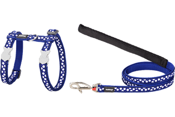 Red Dingo Cat Harness & Lead White Spots Dark Blue CH-S5-DB