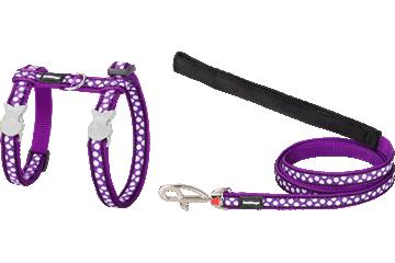 Red Dingo Cat Harness & Lead White Spots Purple CH-S5-PU