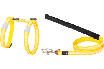 Red Dingo Cat Harness & Lead White Spots Yellow CH-S5-YE