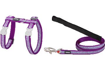 Red Dingo Cat Harness & Lead Safari Purple CH-SA-PU