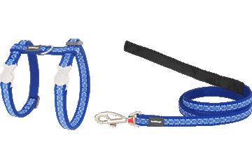 Red Dingo Cat Harness & Lead Snake Eyes Dark Blue CH-SE-DB