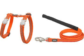 Red Dingo Cat Harness & Lead Snake Eyes Orange CH-SE-OR