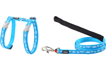 Red Dingo Cat Harness & Lead Snow Flake Turquoise CH-SF-TQ