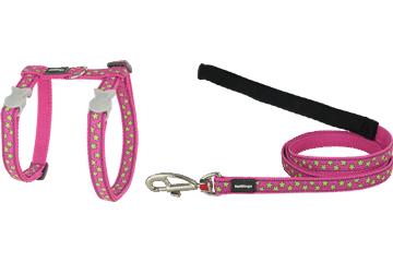 Red Dingo Cat Harness & Lead Stars Hot Pink CH-ST-HP