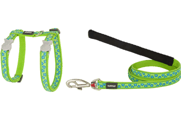 Red Dingo Cat Harness & Lead Stars Lime Green CH-ST-LG