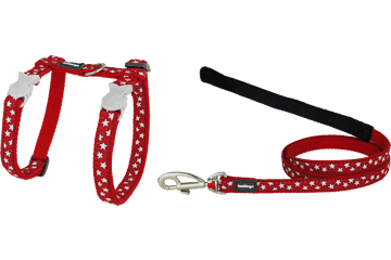 Red Dingo Cat Harness & Lead Stars Red CH-ST-RE