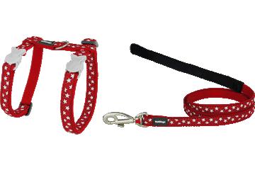 Red Dingo Kedi Göğüs Tasması ve Uzatma Kombo Yıldızlar Kırmızı CH-ST-RE