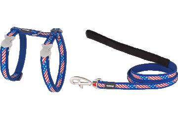 Red Dingo Cat Harness & Lead Stars & Stripes Dark Blue CH-US-DB