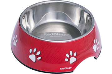 Red Dingo Stainless Steel Bowl Paw Prints rood DB-PP-RE
