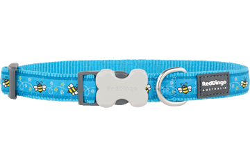 Red Dingo Dog Collar Bumble Bee Turquoise DC-BM-TQ