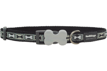 Red Dingo Dog Collar Bone Yard Black DC-BY-BB