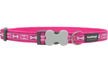 Red Dingo Dog Collar Bone Yard Hot Pink DC-BY-HP