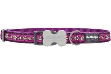 Red Dingo Dog Collar Daisy Chain Purple DC-DC-PU (DCS032 / DCM062 / DCL092)