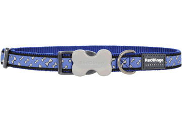 Red Dingo Dog Collar Flying Bones Dark Blue DC-FL-DB