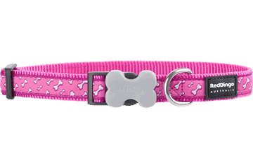 Red Dingo Dog Collar Flying Bones Hot Pink DC-FL-HP
