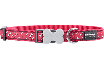 Red Dingo Dog Collar Flying Bones Red DC-FL-RE
