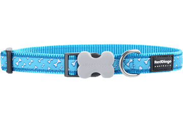 Red Dingo Dog Collar Flying Bones Turquoise DC-FL-TQ