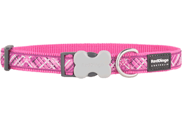Red Dingo Dog Collar Flanno Hot Pink DC-FN-HP