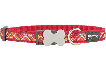 Red Dingo Dog Collar Flanno Red DC-FN-RE