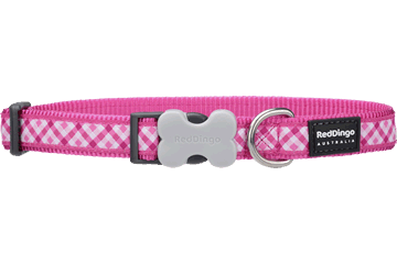 Red Dingo Dog Collar Gingham Hot Pink DC-GI-HP
