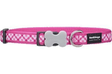 Red Dingo Dog Collar Gingham Hot Pink DC-GI-HP
