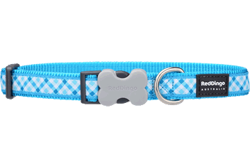 Red Dingo Dog Collar Gingham Turquoise DC-GI-TQ