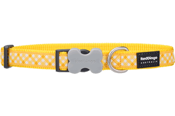 Red Dingo Dog Collar Gingham Yellow DC-GI-YE
