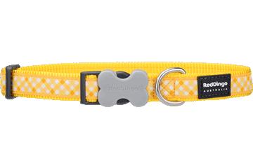 Red Dingo Dog Collar Gingham Yellow DC-GI-YE