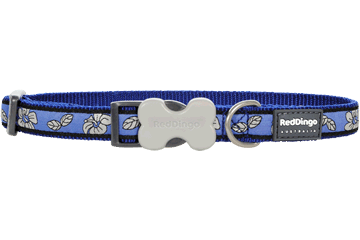 Red Dingo Dog Collar Hibiscus Dark Blue DC-HI-DB