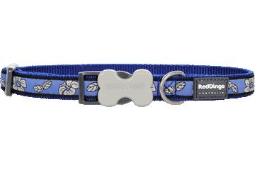 Red Dingo Dog Collar Hibiscus Dark Blue DC-HI-DB