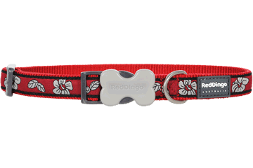 Red Dingo Dog Collar Hibiscus Red DC-HI-RE