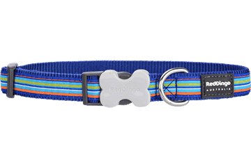 Red Dingo Dog Collar Horizontal Stripes Dark Blue DC-HO-DB