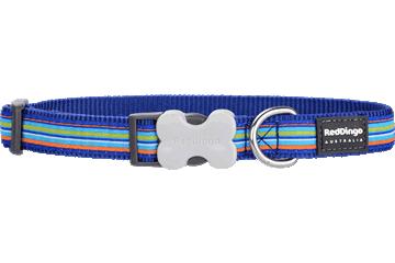 Red Dingo Dog Collar Horizontal Stripes Dark Blue DC-HO-DB