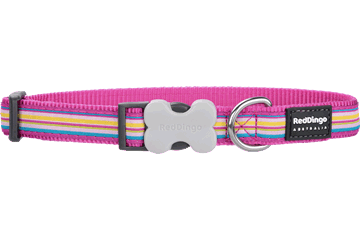 Red Dingo Dog Collar Horizontal Stripes Hot Pink DC-HO-HP