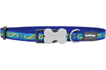 Red Dingo Hondenhalsband Paisley Dark Blue With Green DC-P2-DB