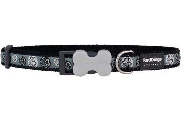Red Dingo Dog Collar Paw Impressions Black DC-PI-BB