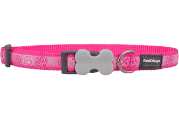 Red Dingo Dog Collar Paw Impressions Hot Pink DC-PI-HP