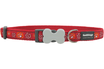 Red Dingo Dog Collar Paw Impressions Rosso DC-PI-RE