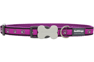 Red Dingo Dog Collar Paw Prints Purple DC-PP-PU