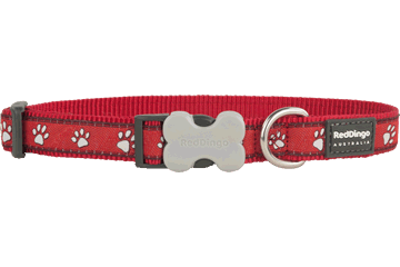 Red Dingo Dog Collar Paw Prints Red DC-PP-RE